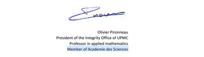 Signature d'Olivier Pironneau sur une lettre envoyée à la revue PLoS ONE en 2013. © serayamaouche
