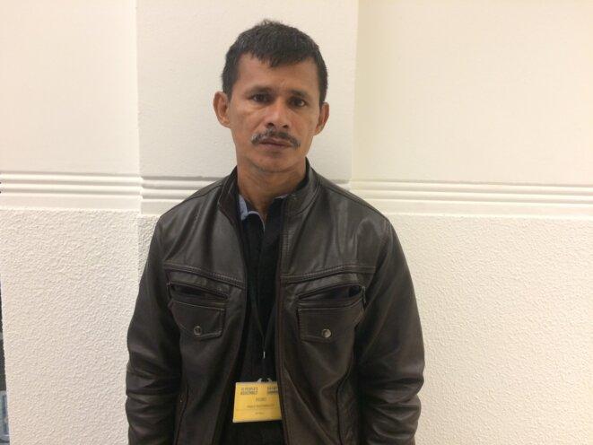 Pedro Pablo Mutumbajoy, agriculteur colombien et témoin au procès. © LL.