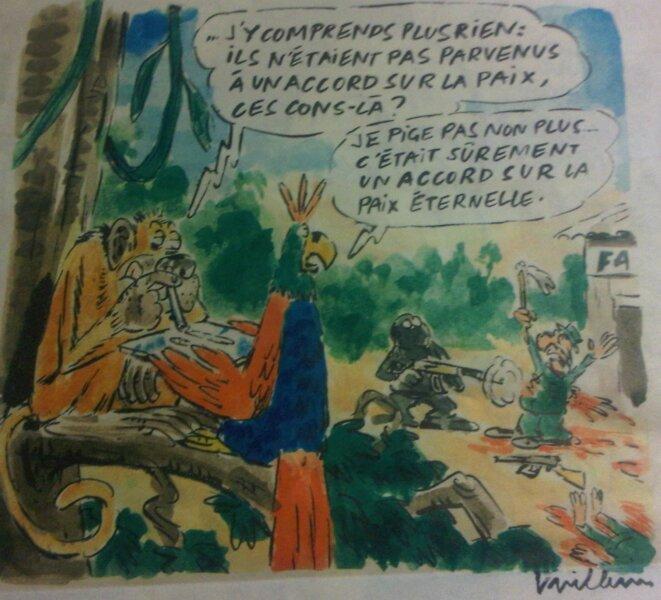 """Caricature pour """"Chronique d'une Paix Mal Barrée"""" --Charlie Hebdo No1264 © Willem@CharlieHebdo"""