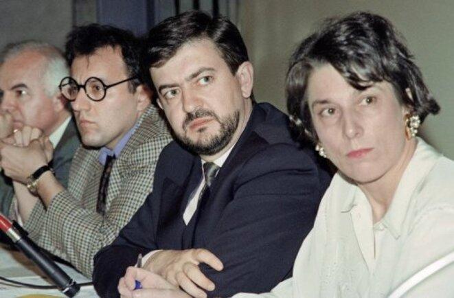 Julien Dray, Jean-Luc Mélenchon, Marie-Noëlle Lienemann à l'époque de la Gauche socialiste (1988-2002) © DR