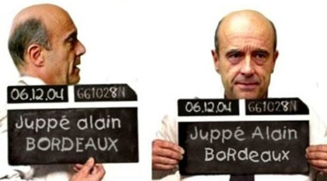 Alain Juppé en délinquant © KAVINKA Over blog   http://kavinka.over-blog.com/2015/10/alain-juppe-un-delinquant-peut-il-etre-president-de-la-republique.html
