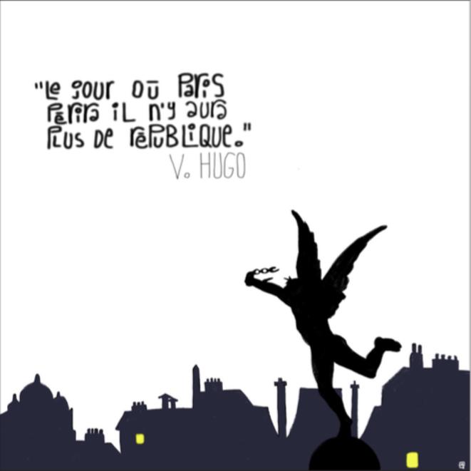 Le Paris d'Hugo. Impression en digigraphie numérotée et signée d'un dessin réalisé sur Ipad © ARySQUE
