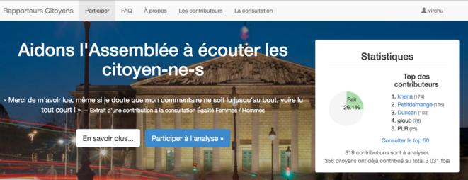 Page d'accueil du site Rapporteurs Citoyens