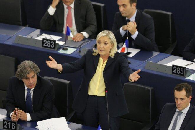 Marine Le Pen au parlement européen, à Strasbourg, le 7 octobre 2015.