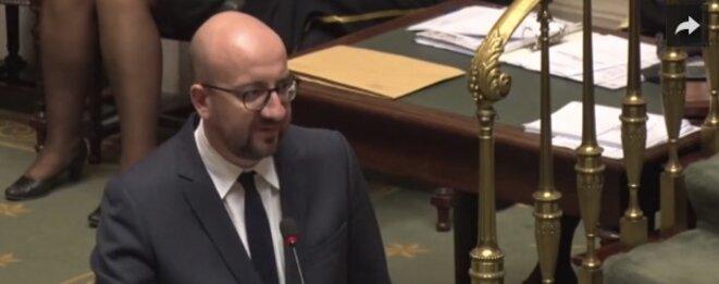 Le premier ministre belge Charles Michel à l'assemblée le 27 octobre © capture d'écran