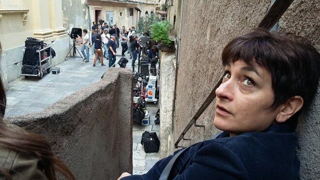 Elena Piacentini sur le tournage pour France Télévisions de Meurtres à Bastia le 20 octobre 2016 © corsicapolar.eu