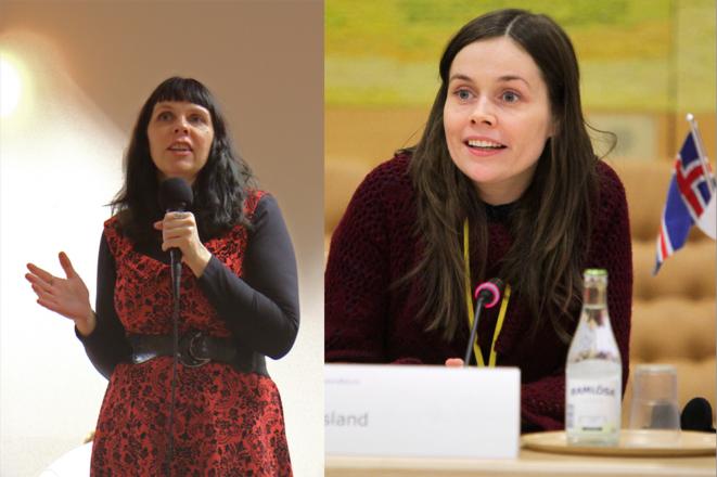 Birgitta Jónsdóttir, députée pirate & Katrín Jakobsdóttir, présidente des Verts de Gauche, deux figures clefs des élections à venir