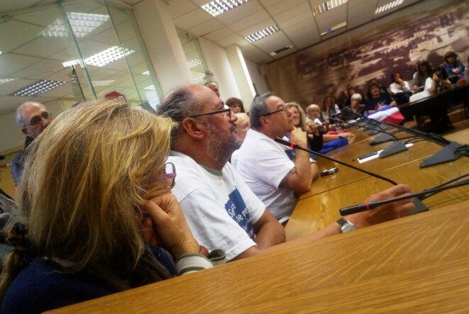 Prise de parole de Philippe GASSER de SoliGrecs Nîmes, lors de la rencontre avec les bénévoles du dispensaire solidaire de Chalandri © Jocelyn Garcia