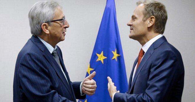Jean-Claude Juncker, président de la commission européenne, et Donald Tusk, président du conseil européen. © Reuters