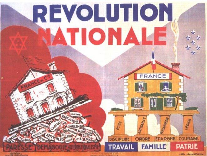 Affiche pétainiste © Source de l'image : http://esoubise.e-monsite.com/pages/content/la-deuxieme-guerre-mondiale.html