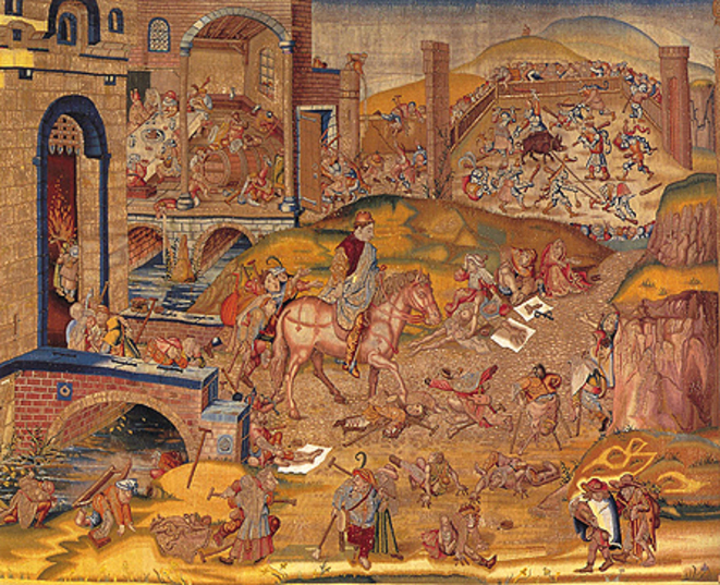 Atelier bruxellois inconnu, Saint quittant la ville, 1550-1570, Madrid, Patrimonio Nacional, Palacio Real © BRL