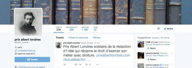 Sur son compte Twitter, le Prix Albert Londres apporte son soutien à la rédaction d'i-Télé