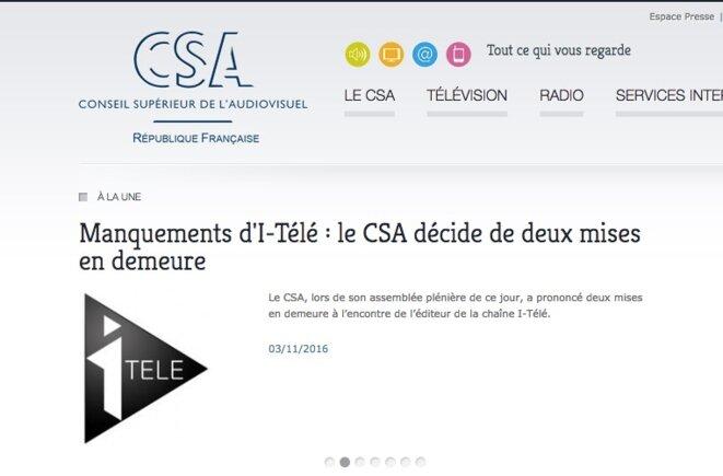 Le site Internet du CSA