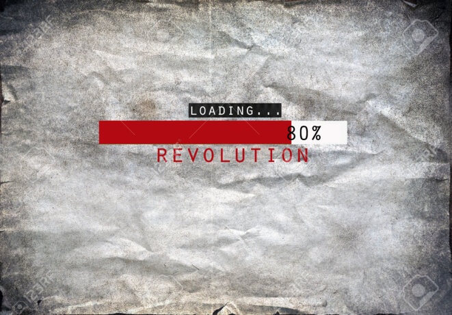23824250-loading-revolution-draw-on-a-grunge-background-stock-photo