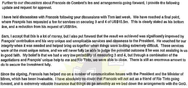 Extrait d'un e-mail signé Alan Davies, responsable des opérations internationales de Rio Tinto, le 10 mai 2011.