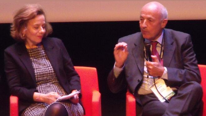 À droite : Jean-Hervé Laurent Lorenzi, président du Cercle des économistes © Philippe Léger