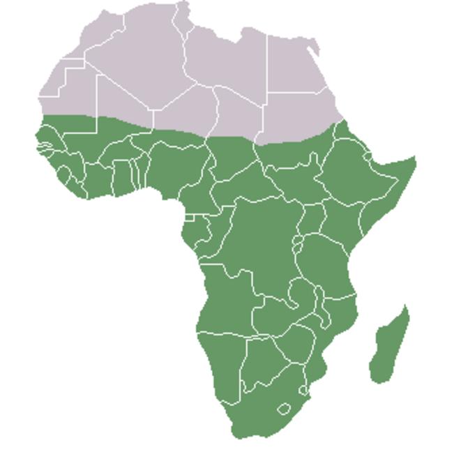 En vert, l'Afrique subsaharienne © Domaine public