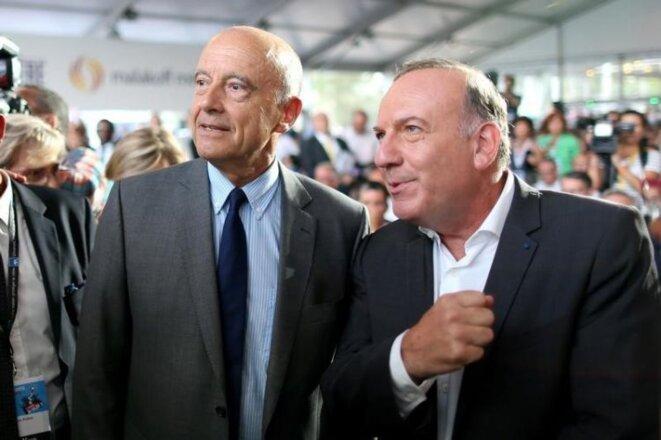 Alain Juppé et Pierre Gattaz à l'université d'été du Medef, le 31 août. © Reuters