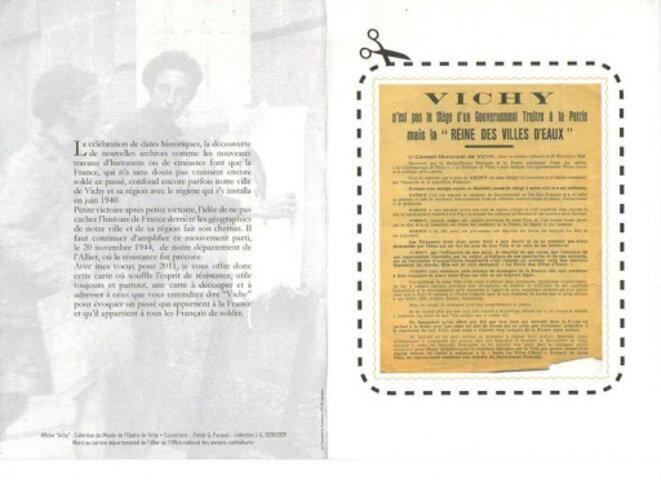 La carte postale pour le respect de la Ville de Vichy (verso) © Gérard Charasse, Député de l'Allier