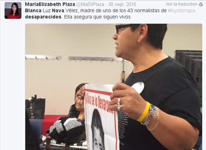 Blanca Nava, mère d'un des 43 disparus © @MaEliPlaza
