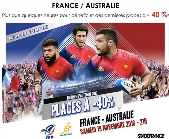 Capture d'écran d'une publicité de la FFR, le 18 novembre 2016