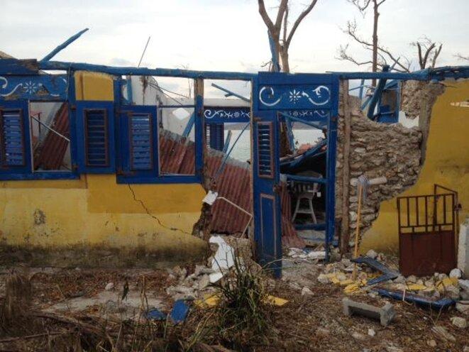 Maison des Passagers des vents ravagée par l'ouragan Matthew le 4 octobre 2016 à Port-Salut © Pascale Monnin