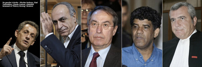 Left to right: Nicolas Sarkozy, Ziad Takieddine, Claude Guéant, Abdullah al-Senussi and Sarkozy's lawyer Thierry Herzog.
