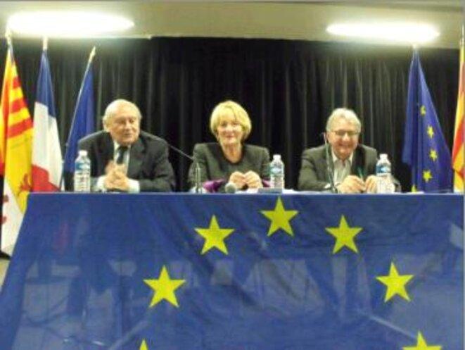 De gauche à droite :  Jean Vergès, Monique Beltrame, Joachim Rothacker. © Philippe Léger