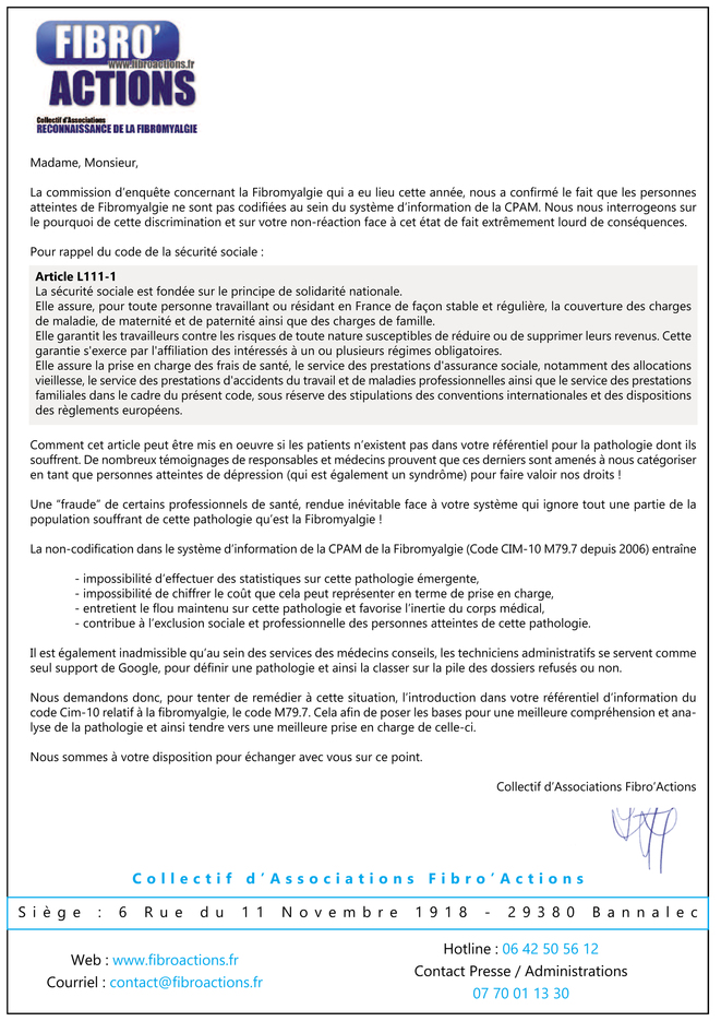 Courrier pour codification adressé à la CPAM © Fibro'Actons