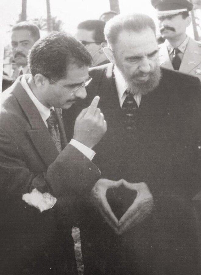 Fidel Castro et Antoine Karam (Président du Conseil Régional de la Guyane). Sommet des État de la Caraïbe. (AEC).
