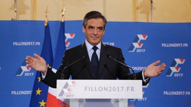 François Fillon, après sa victoire à la primaire de droite, le 28 novembre 2016 à la Masion de la chimie à Paris. © Reuters
