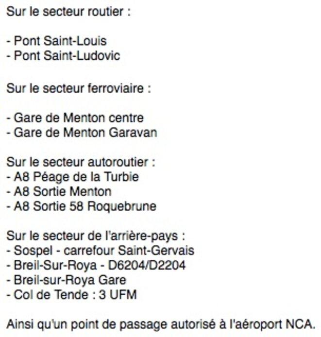 Liste des treize points de passages autorisés (PPA) fournie par la préfecture des Alpes maritimes © DR