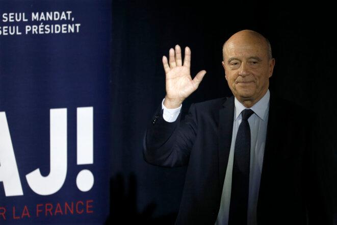 Alain Juppé à son QG, le 27 novembre au soir. © Reuters