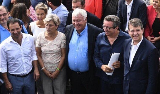 10 septembre 2016. Benoît Hamon, Marie-Noëlle Lienemann, Gérard Filoche et Arnaud Montebourg, à l'université des frondeurs du PS de La Rochelle. © DR
