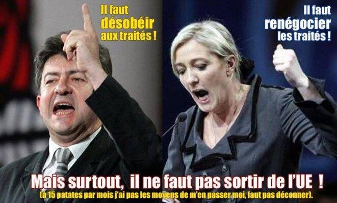 Expression contradictoire de Le Pen et Mélenchon © UPR