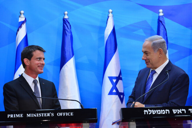 Manuel Valls rencontre Benjamin Netanyahou en Israël, le 23 mai 2016 © Kobi Gideon, GPO