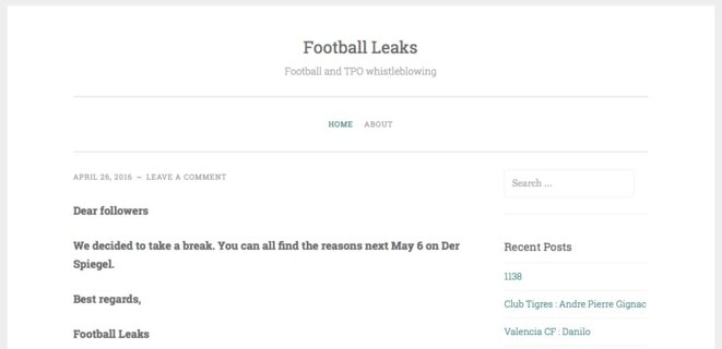 """La """"une"""" du site Football Leaks © Football Leaks"""