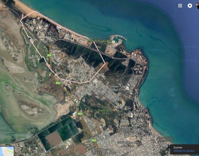 Vue aérienne de Gammarth, où furent conduites de nombreuses urbanisations de standing sous Ben Ali © DR