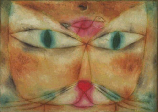 Paul Klee, « Chat et oiseau », huile et encre sur toile montée sur bois, 1928.