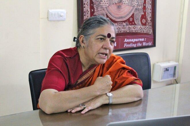 Vandana Shiva dans les locaux de Navdanya à Delhi le 8.10.2016