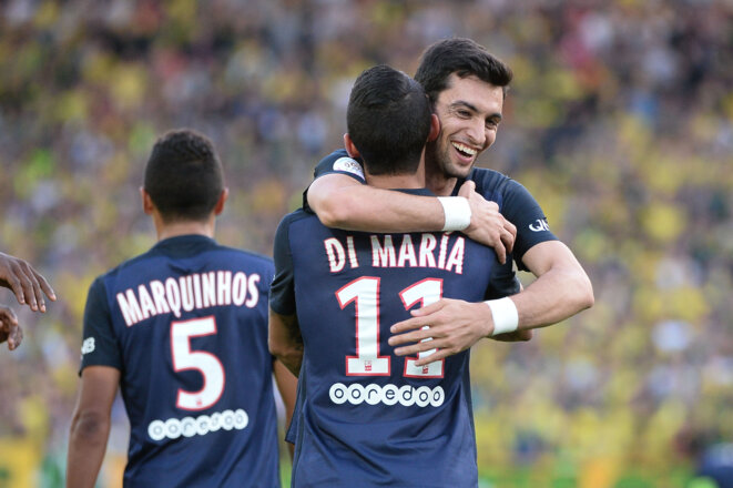 PSG teammates Javier Pastore (right) and Angel Di Maria. © Icon Sport