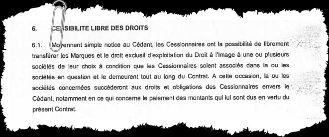 La clause de cession des droits de Paul Pogba. © EIC