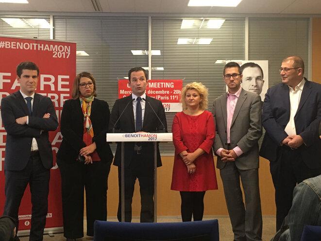 Benoît Hamon lors de sa conférence de presse vendredi matin à son QG © CG