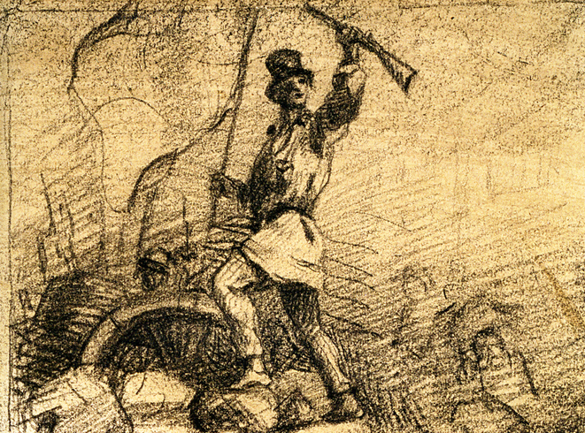 Gustave Courbet, « Révolutionnaire sur une barricade » (projet de frontispice pour « Le Salut public »), 1848, fusain sur papier. © © Musée Carnavalet / Roger-Viollet.