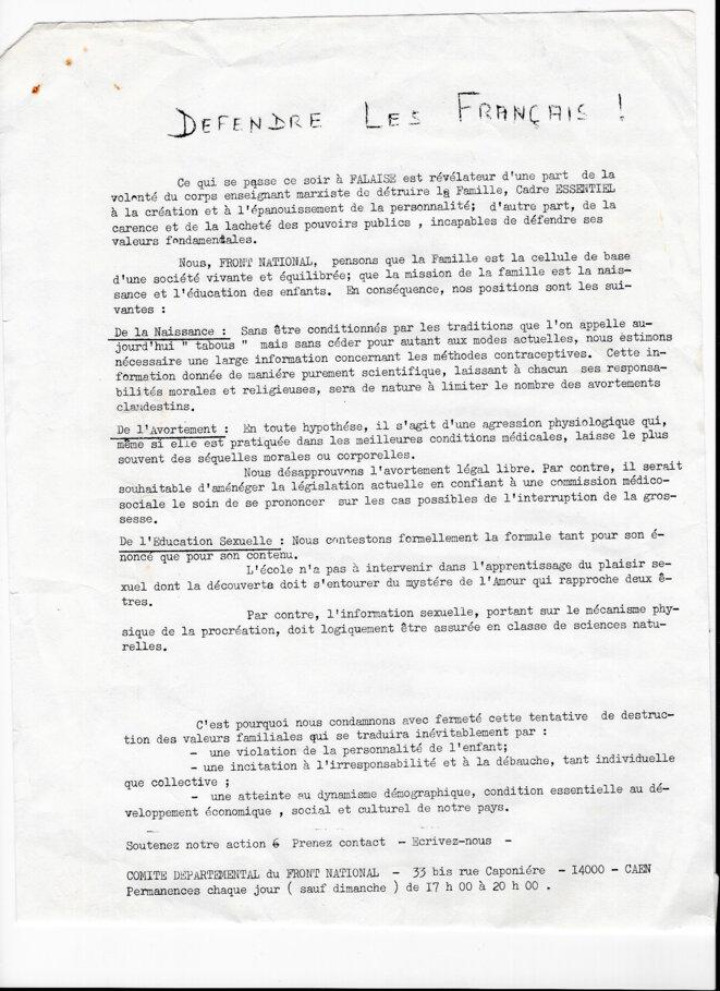 Tract du comité départemental du FN de Caen, au début des années 1970