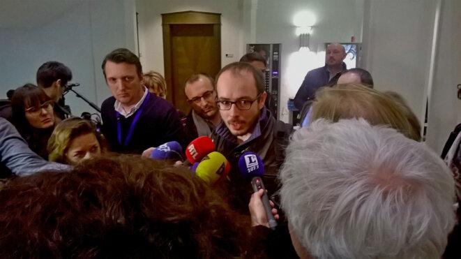 Antoine Deltour, à la sortie de l'audience du 12 décembre. © D.I.