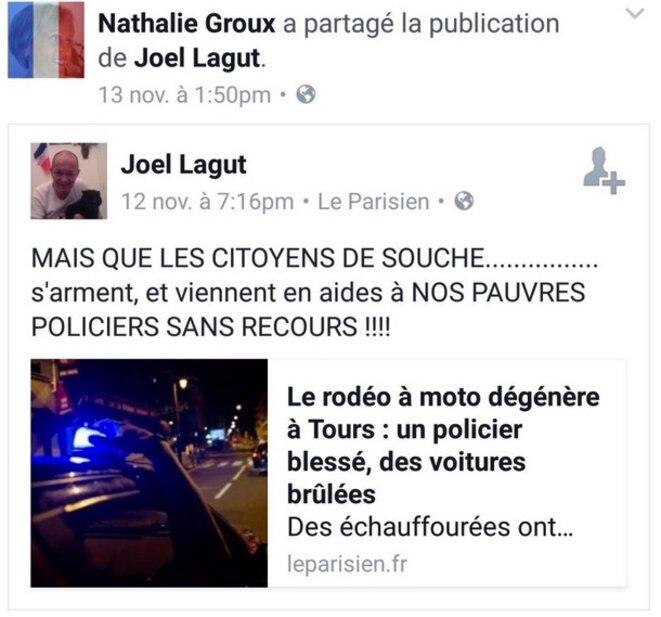 Capture d'écran du compte Facebook de Nathalie Groux © DR