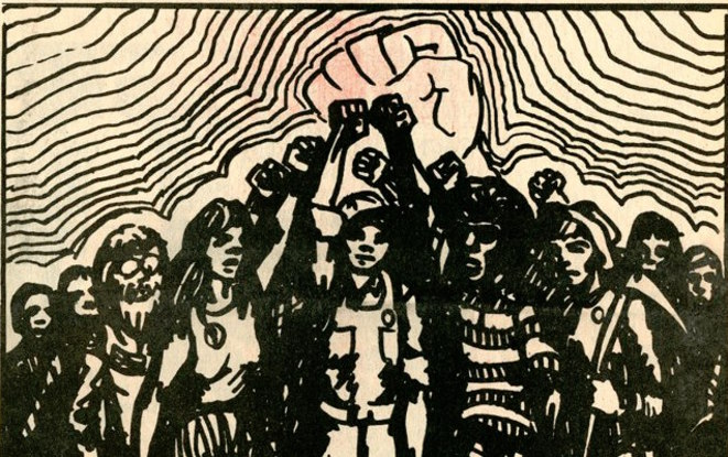 Illustration de Une du journal « Industrial Worker » de mai 1972 (détail) © IWW