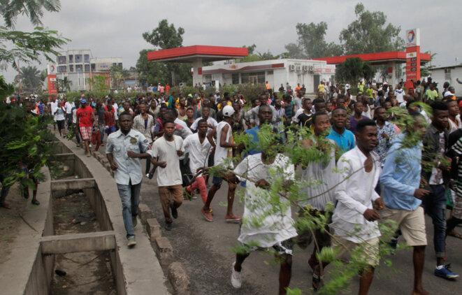 Des opposants au président Kabila ont défilé dans les rues de Kinshasa, au mois de septembre 2016, quand il a été annoncé que les élections seraient repoussées. © Reuters