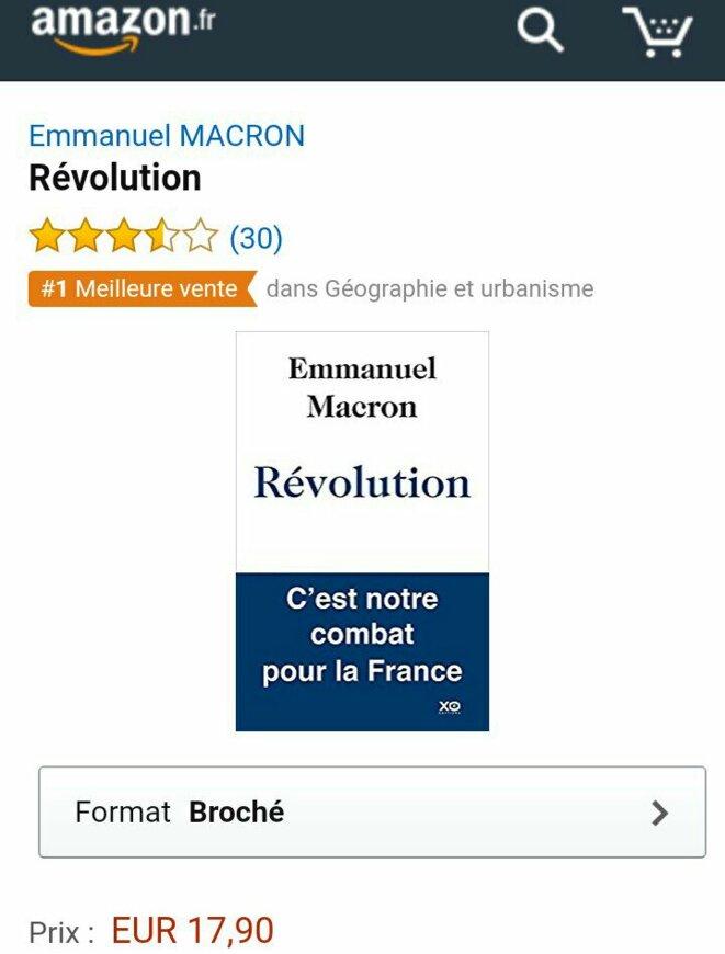 Copie d'écran effectée le 14 décembre 2016 sur le site d'Amazon présentant le livre de M. Macron premier dans la rubrique... géographie.